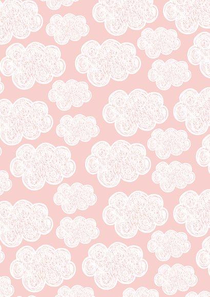 Geboorte felicitatiekaart met roze achtergrond en wolken 2