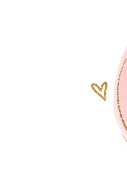 Geboorte felicitatiekaart roze dot en cirkel 2