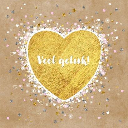 Geboorte goud hart en vele hartjes sterretjes en bloemen 2