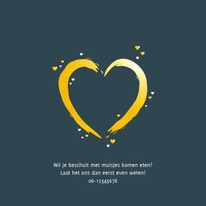 Geboorte  groot hart in goudkleur 2
