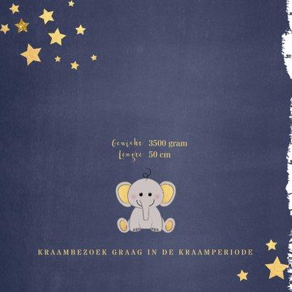 Geboorte hip blauw kaartje met een lief olifantje 2