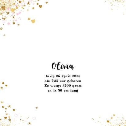 Geboorte hip kaartje  gouden  en roze hartjes en sterretjes 2