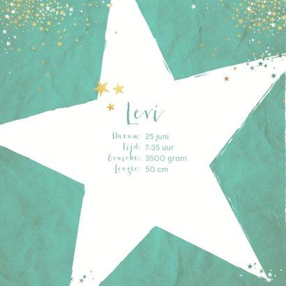 Geboorte hip kaartje met  een grote ster en vele sterretjes 2