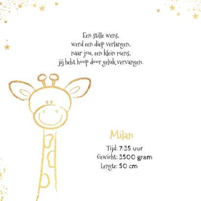 Geboorte hip kaartje met goudkleurig lief girafje 2