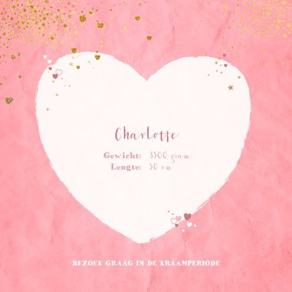 Geboorte hip roze kaartje met een hart en sterretjes 2