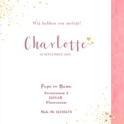 Geboorte hip roze kaartje met een hart en sterretjes 3