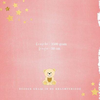 Geboorte hip roze kaartje met een schattig beertje 2
