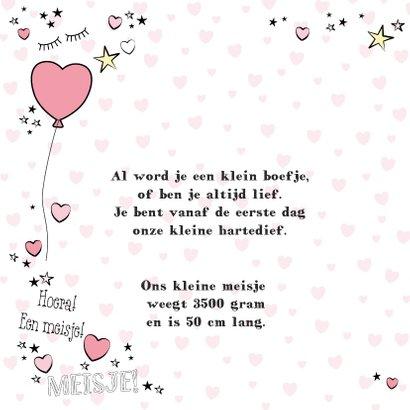Geboorte hippe kaart in handlettering-stijl met hartjes 2