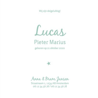 Geboorte  jongen groen silhouet Lucas - MW 3