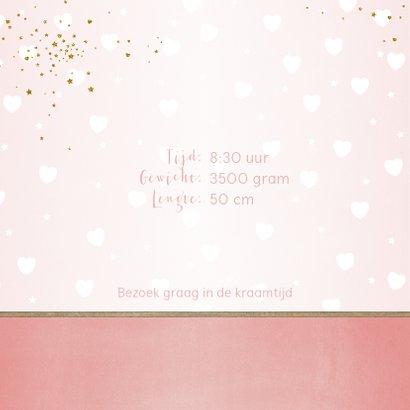 Geboorte lief en hip, roze kaartje met foto en hartjes 2