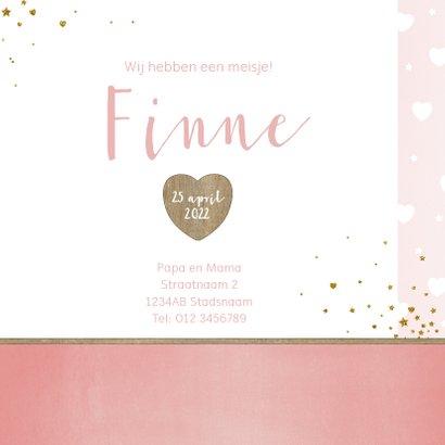 Geboorte lief en hip, roze kaartje met foto en hartjes 3