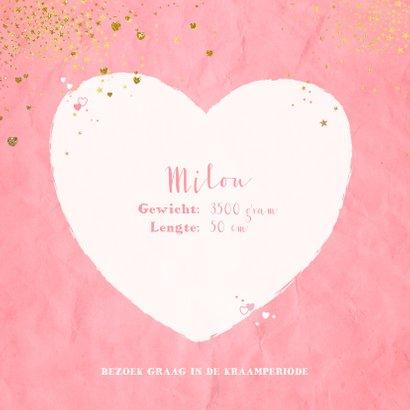 Geboorte lief roze kaartje met sterretjes en hartjes 2