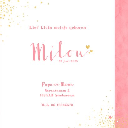 Geboorte lief roze kaartje met sterretjes en hartjes 3