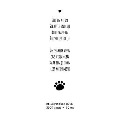 Geboorte lief zwart wit kaartje met een ijsbeertje 2