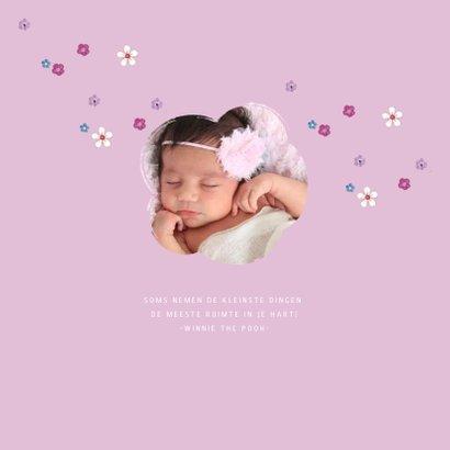 Geboorte Meisje HART BLOEMEN hout 2