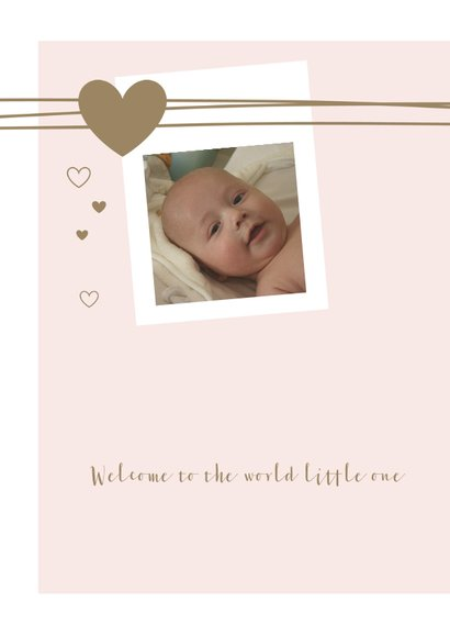 Geboorte  met lijnen, foto, hartjes voor een meisje 2