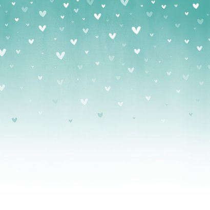 Geboorte mintgroene waterverf ombre met dwarrelhartjes Achterkant