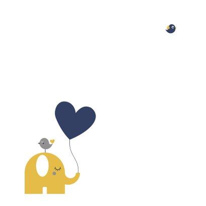 Geboorte - Olifantje met hartjes ballon 2
