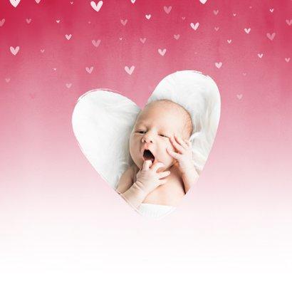 Geboorte roze waterverf ombre met dwarrelhartjes 2