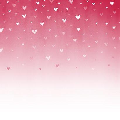 Geboorte roze waterverf ombre met dwarrelhartjes Achterkant