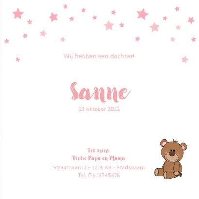 Geboorte schattig roze kaartje meisje met knuffelbeer 3