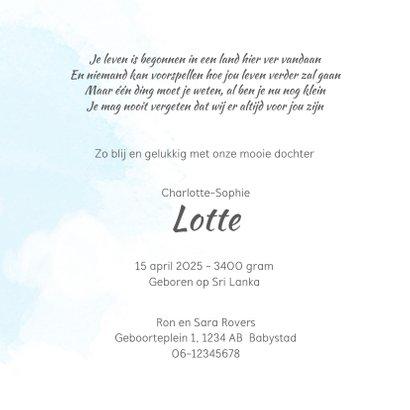 Geboortekaart adoptie meisje - luchtballon 3