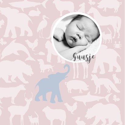Geboortekaart Animal tikje retro pink hippe kaart 2