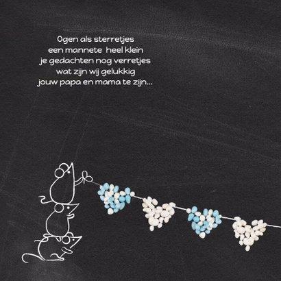 Geboortekaart blauw muisjes hart 2