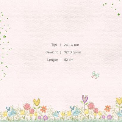 Geboortekaart bloempjes en vlinders 2