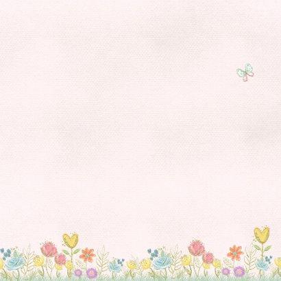 Geboortekaart bloempjes en vlinders Achterkant