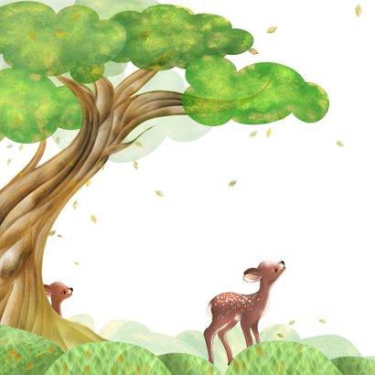 Geboortekaart boom, hertjes en vallende blaadjes 2