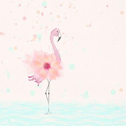 Geboortekaart flamingo met bloem-lijfje 2