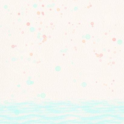 Geboortekaart flamingo met bloem-lijfje Achterkant