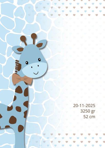 Geboortekaart giraf blauw-bruin 2