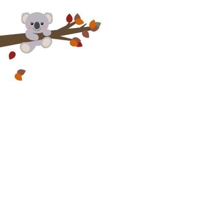 Geboortekaart herfst lief koalabeertje  Achterkant