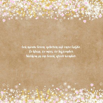 Geboortekaart hip en lief  met hartjes sterren bloemen 2