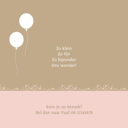Geboortekaart houten bakfiets met zusjes ballon 2