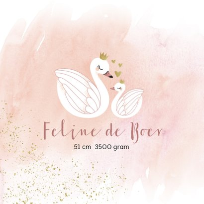 Geboortekaart illustratie zwaantjes waterverf meisje 2
