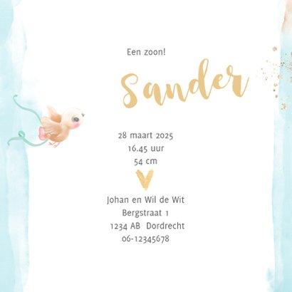 Geboortekaart jongen blauw met gouden hartjes 3