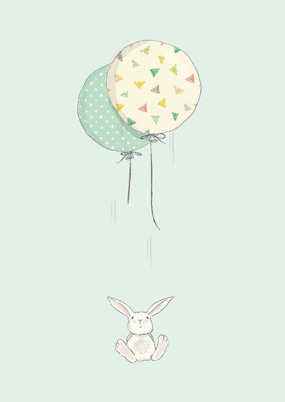 Geboortekaart jongen, konijn, ballonnen 2