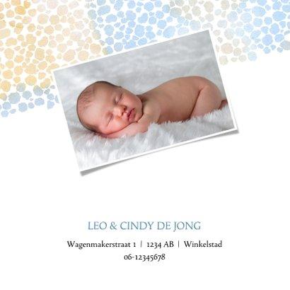 Geboortekaart jongen met dierenprint blauw-bruin 2