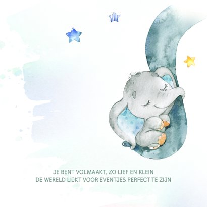Geboortekaart jongen olifantje waterverf 2