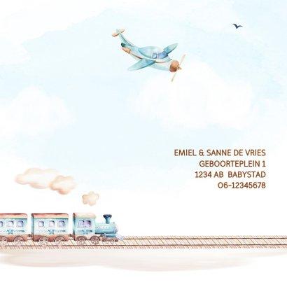 Geboortekaart jongen trein en vliegtuig 2