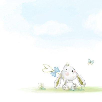 Geboortekaart konijn jongen met kuikens en vlinder 2