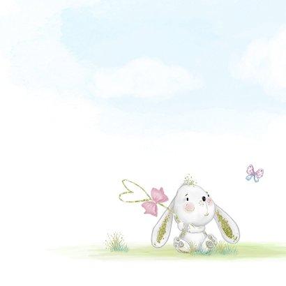 Geboortekaart konijn met kuikens en vlinder - meisje 2