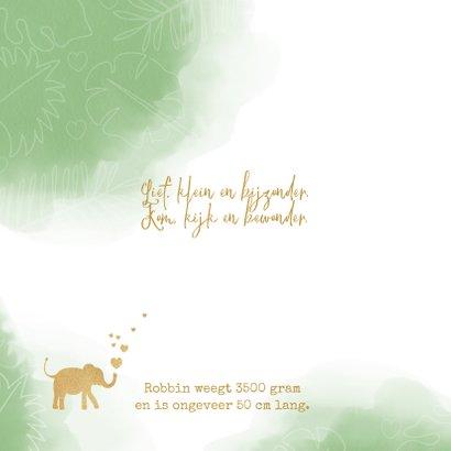 Geboortekaart lief waterverf silhouet olifant met hartjes. 2