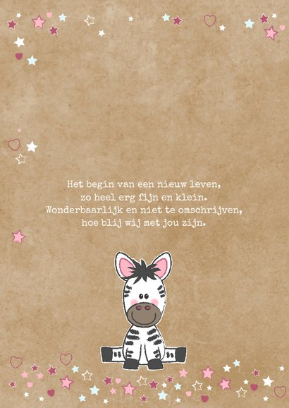 Geboortekaart lief zebra meisje kraft-stijl  2