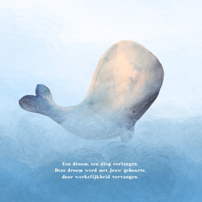 Geboortekaart lieve walvis zee en water accenten 2