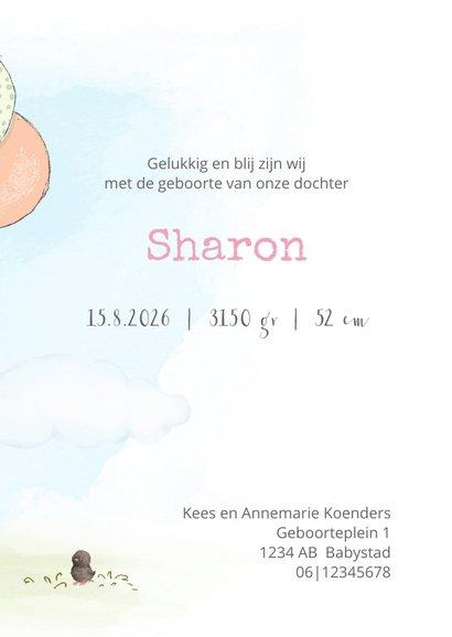 Geboortekaart meisje, kitten en ballonnen 3