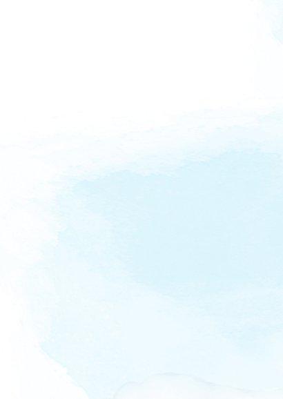 Geboortekaart meisje, kitten en ballonnen Achterkant